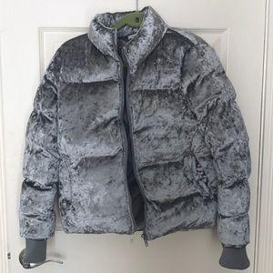 Gray metallic puffer coat